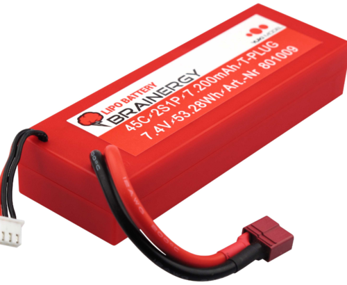 LIPO 7200 mah 2S Hard Case taux décharge 45C BRAINERGY 801009